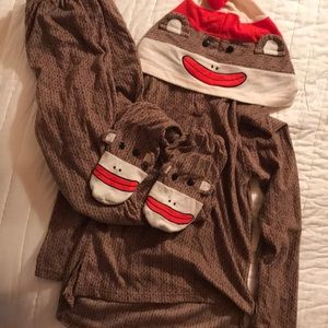 2 piece sock monkey pajamas or Halloween costume!